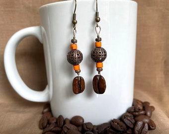 Coffee Bean Earrings - Pumpkin Spice Latte - Authentic Fair Trade Coffee Bean Earrings...FREE U.S. SHIPPING