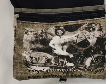 Large Travel Bag that Can Convert to a Backpack. Motorcycle themed. . 4 Exterior Pockets.  2 Zipped.  2 Open.   Free Shipping