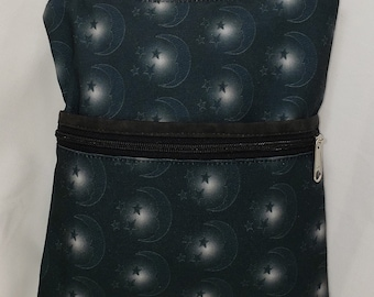Moon/Stars & Cottage Roses. Large Travel Bag  Can Convert to a Backpack. 4 Exterior Pockets. 2 Zipped. 2 Open. Free Shipping.