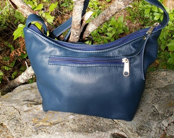 Navy Blue Leather Roomy Little  Bag.  Two Exterior Zipped Pockets.  Free Shipping.