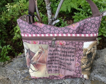 Horse Themed Medium Sized Purse with 8 Outside Pockets 4 open 4 zipped.  Free Shipping