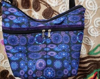 Mandala fabric Medium Sized Purse with  8 Exterior Pockets.  4 Zipped.  4 Open.  Free Shipping