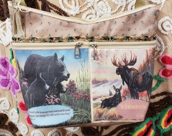 Bear and Moose fabric Medium Sized Purse with  8 Exterior Pockets.  4 Zipped.  4 Open.   Free Shipping