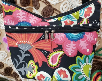 Bright Indoor/Outdoor fabric Medium Sized Purse with  8 Exterior Pockets.  4 Zipped.  4 Open.   Free Shipping.