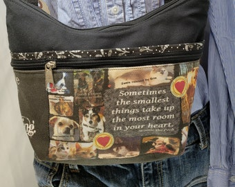 Rescue Me Roomy Little Bag.  Six Exterior Pockets.  3 Zipped.  3 Open. Free Shipping