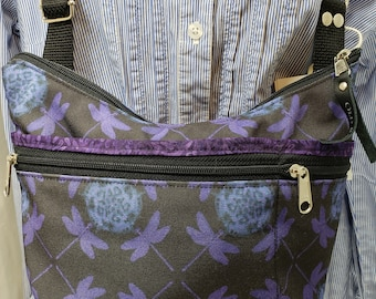 Dragonfly Roomy Little Bag. Six Exterior Pockets.  3 Zipped.  3 Open.  Free Shipping