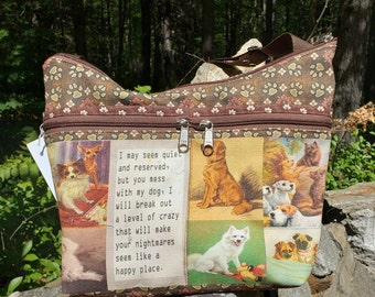 Dog Themed Roomy Little Purse with Six Eterior Pockets.  3 Zipped.  3 Open.  Free Shipping