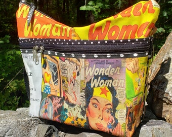 Wonder Woman fabric Medium Sized Purse with 8 Exterior Pockets.  4 Zipped.  4 Open.  Free Shipping