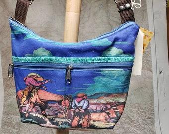 Cowboy Original Fabric Roomy Little  Bag. Six Exterior Pockets.  3 Zipped.  3 Open.   Free Shipping.