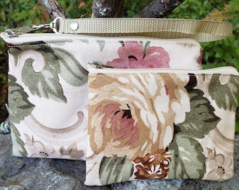 Cottage Rose Barkcloth Wristlet and Small Sachet Purse.  One or Both.  Multiple Uses.  Zip Closure. Nylon Lined.  FREE SHIPPING.