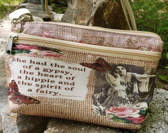 Gypsy Themed Large Wallet with detachable, adjustable strap.  Free Shipping