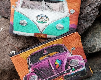 Vintage VW Themed Bag, Emergency Sewing Kit, Medications Bag, Sm. makeup bag, Travel Toothbrush/paste.  Endless Options!  -- Free Shipping