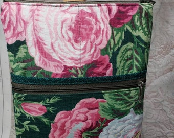 Vintage Drapery Large Travel Bag that Can Convert to a Backpack. 4 Exterior Pockets.  2 Zipped.  2 Open.  Free Shipping.