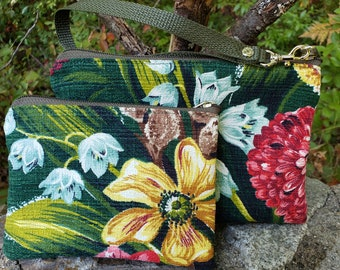 Vintage Heavy,Nubby Floral Barkcloth Wristlet & Small Sachet Purse.  One or Both.  Multiple Uses.  Zip Closure. Nylon Lined.  FREE SHIPPING.