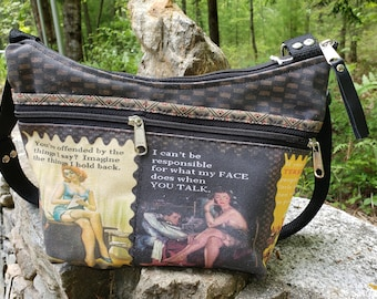 Sarcastic Themed Roomy Little Bag.  Six Exterior Pockets.  3 Zipped.  3 Open.  Free Shipping