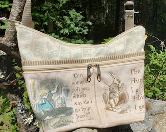 Alice in Wonderland Themed Medium Sized Purse with 8 Exterior Pockets.  4 Zipped.  4 Open.  Free Shipping