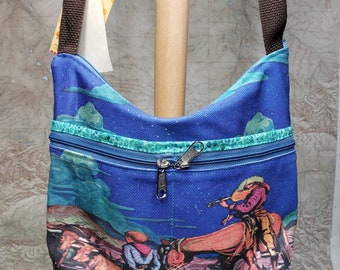 Cowboy Vintage Graphic Medium Sized Purse with 8 Exterior Pockets. 4 Zipped.  4 Open.  Free Shipping.