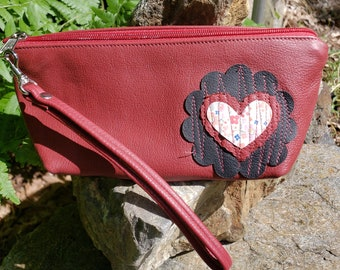 Red Reclaimed Leather Wristlet that can convert to a Shoulder Bag.  Great for Cosmetics, Medication, Glasses.  FREE SHIPPING.