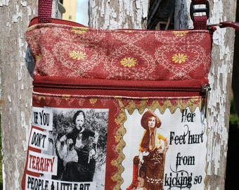 Travel Purse with Vintage Graphics and Funny, Sarcastic Sayings.  Free Shipping.