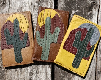 Leather Credit Card Case.  Cactus Leather Applique.  FREE SHIPPING.