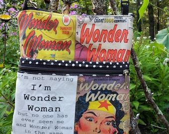 Vintage Wonder Woman Large Travel Bag/Backpack.  4 Exterior Pockets.  2 Zipped.  2 Open.  FREE SHIPPING