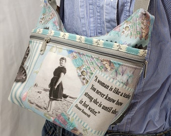 Eleanor Roosevelt Themed Roomy Little Bag.  Six Eterior Pockets. 3 Zipped.  3 Open.  Free Shipping