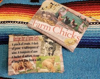 Farm Chick Coin Bag, Emergency Sewing Kit, Medications Bag, Sm. makeup bag, Travel Toothbrush/paste.  Endless Options!  -- Free Shipping