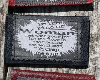 """Leather Credit Card Case.  """"The devil said, """"Oh Crap She's Up."""" FREE SHIPPING."""