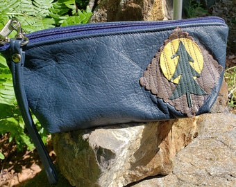 Blue Reclaimed Leather Wristlet that can convert to a Shoulder bag.  Great for Cosmetics, Medication, Glasses.  FREE SHIPPING.