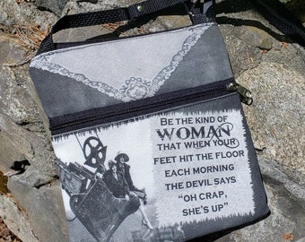 """The Devil Says """"Oh Crap She's Up"""" Travel Purse.  Free Shipping"""
