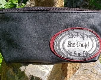 Black Reclaimed Leather Wristlet that can convert to a Shoulder Bag.  Great for Cosmetics, Medication, Glasses.   FREE SHIPPING.