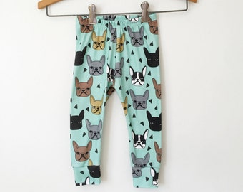 french bulldog baby leggings // organic baby pants // organic toddler clothes // toddler leggings // baby pants // baby clothes