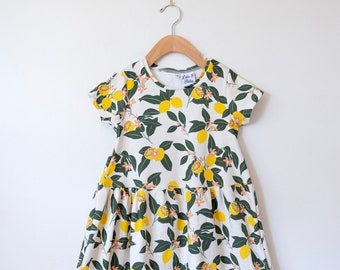 4ec47e1fb26b Girls lemon dress // organic short sleeve dress // toddler twirl dress //  organic toddler dress // spring dress // organic baby clothes