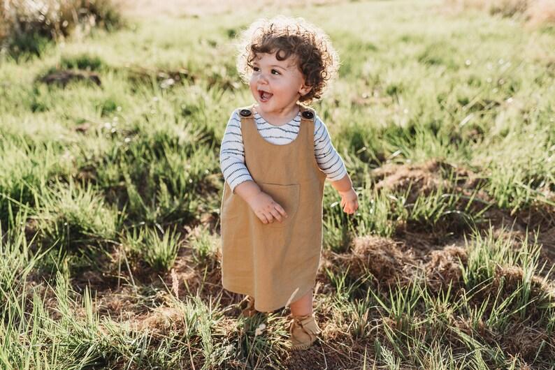 b77c3a53984e Girls jumper dress    camel linen dress    toddler dress