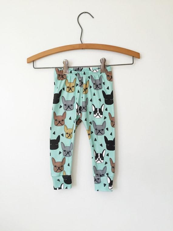 French Bulldog Baby Trousers New Baby Gift Baby Shower Gift Organic Baby Girl Leggings Cotton Baby Boy Leggings Frenchie Baby Pants
