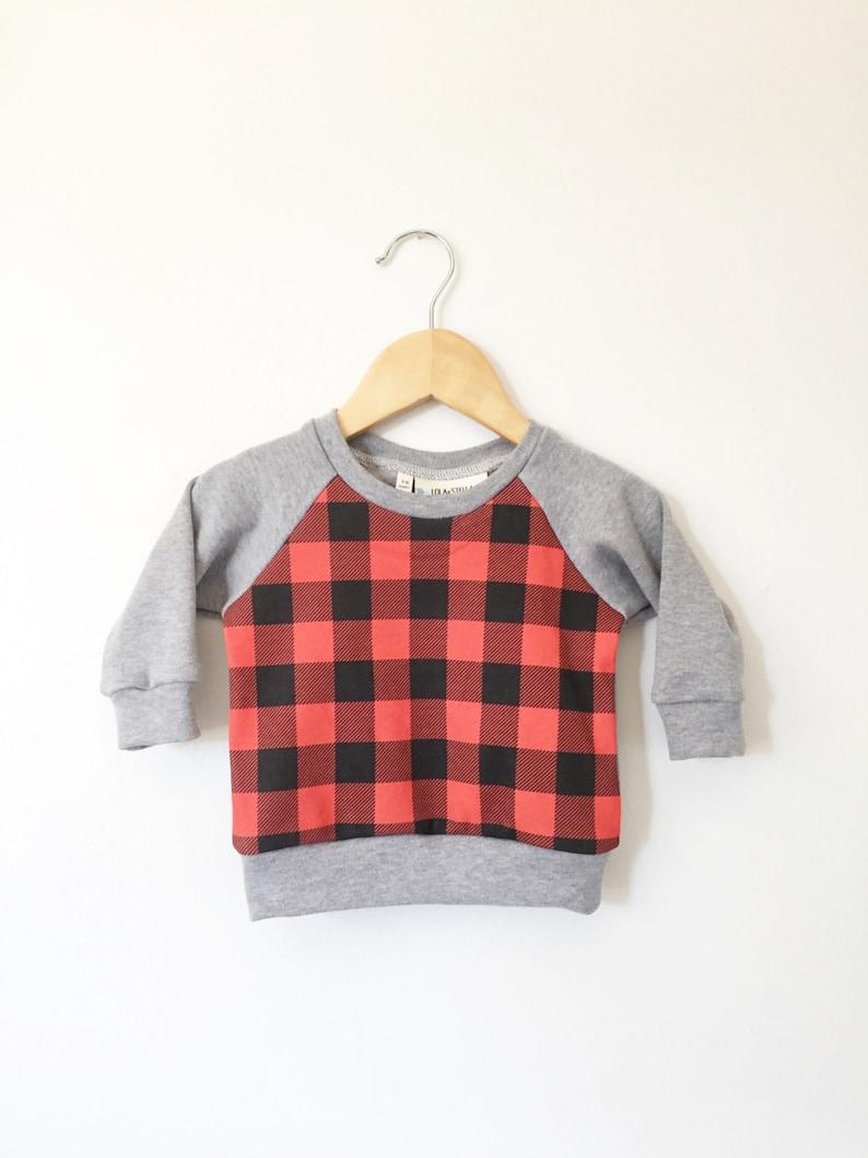 f25fde0e7 Organic buffalo plaid panel sweatshirt organic toddler