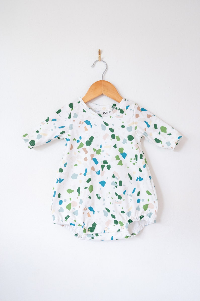 b06437256 Terrazzo bubble romper   baby girl clothes   Organic baby