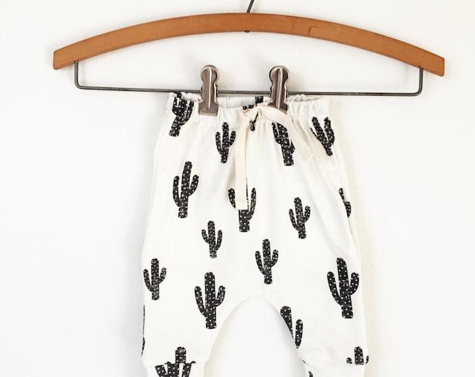baby joggers // Organic baby leggings in cactus print // baby clothes // baby clothing // drop crotch pants / toddler leggings / harem pants