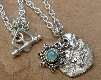 Pendant & Chain Necklace.Sterling Silver Nugget.Chrysoprase Charm.Toggle Clasp . Rustic Boho Tribal Southwest Style Jewelry