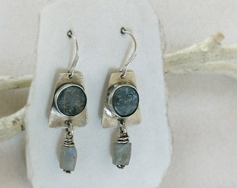 Sterling Silver Earrings Blue Kyanite & Labradorite Nugget Dangles. Rustic Free Spirit Casual. Southwest Boho Tribal Style Jewelry