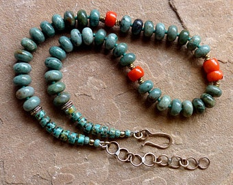 Orange Coral & Green Dragon Blood Jasper Chunky Necklace/Rustic Tribal Brass Beads and Chain . Rustic Boho Tribal Southwest Style Jewelry