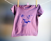 Rocket Ship and Stars Organic T-Shirt, hand pale grey purple with navy blue Ink, sized 2 Toddler