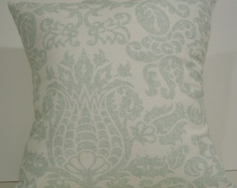 New 18x18 inch Designer Handmade Pillow Cases in blue/green and white