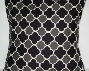 New 18x18 inch Designer Handmade Pillow Case in black and grey quatrefoil pattern.