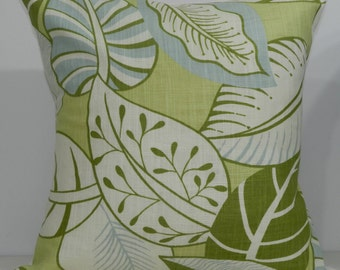 New 18x18 inch Designer Handmade Pillow Case. Chartreuse, blue and green leaf pattern.