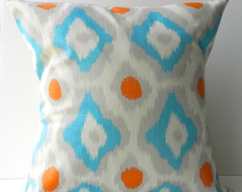 New 18x18 inch Designer Handmade Pillow Cases in modern blue, orange and grey damask on natural