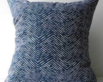 New 18x18 inch Designer Handmade Pillow Case navy blue chevron pattern.