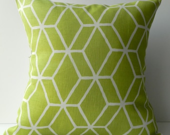 New 18x18 inch Designer Handmade Pillow Case in green geometric lattice