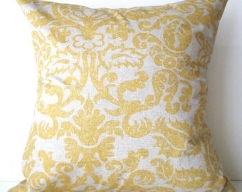 New 18x18 inch Designer Handmade Pillow Cases in yellow and linen color