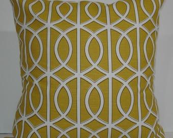 New 18x18 inch Designer Handmade Pillow Case. Dwell Studio. Mustard link, lattice.